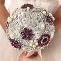 Высокое качество 2016 роскошный индивидуальные свадебное YIYI букет с перл из бисера брошь свадьба красочные невеста букет WD044