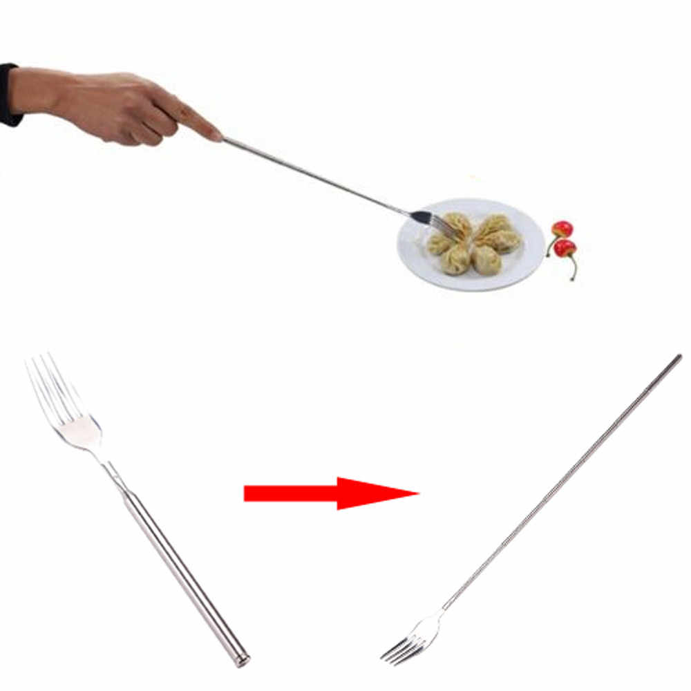 Funny Fork Extension Long Extendable Telescopic Freeloader Trick Prank BBQ Tool Tableware Flatware Cutlery Kitchen Accessories
