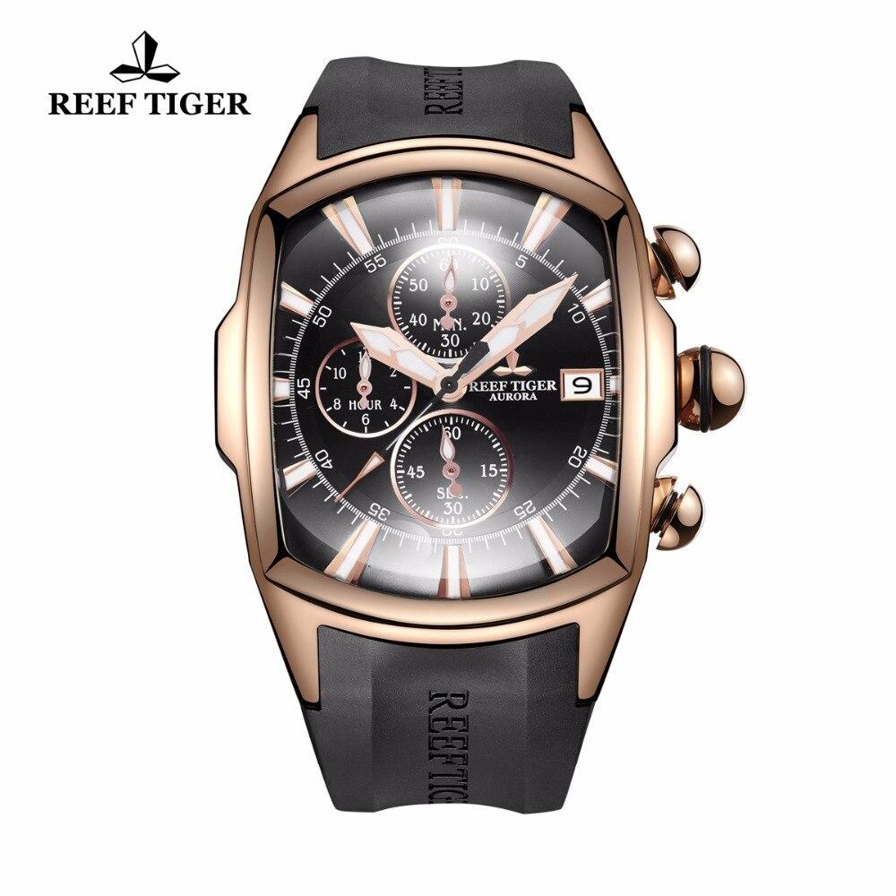 Reef Tiger/RT 2019 Big Pilot Watches Mens Luxury Rose Gold Rubber Strap Waterproof Sport Watches Date Relogio Masculino RGA3069 機械 式 腕時計 スケルトン