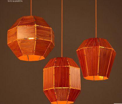 ФОТО multi shape vintage Imitation wood cages pendant lights iron lampshade industrial luminarias Lamparas colgnate living bar cofe