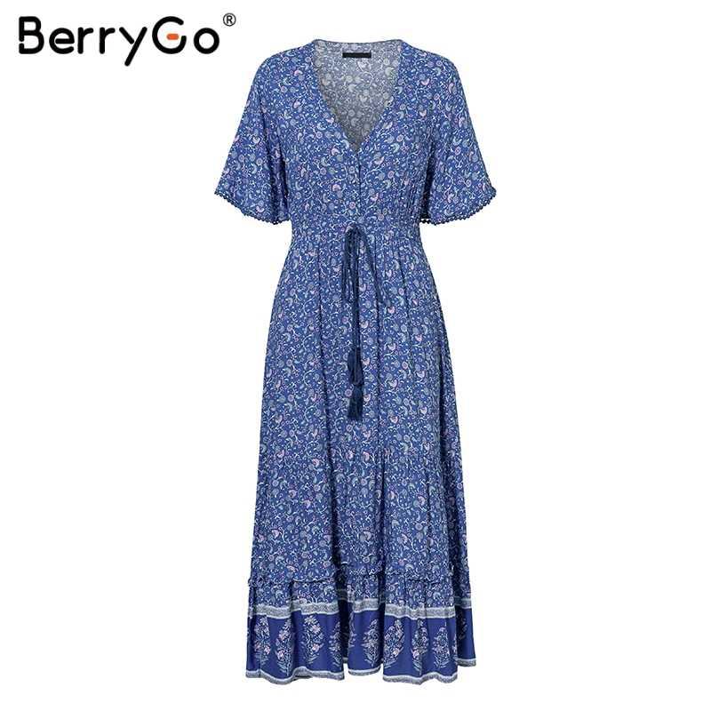 BerryGo femmes robes robes de bohème imprimer robe d'été à manches courtes à volants longue robe maxi col en v cordon dames vestidos