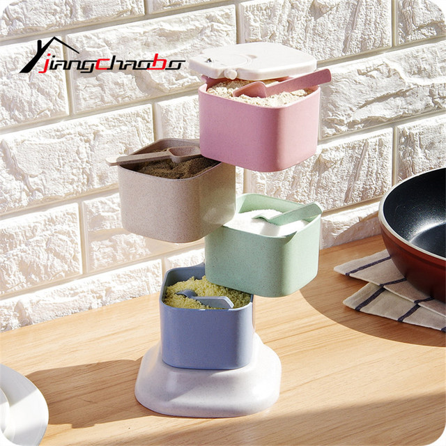 Plastic Spice Sauce Seasoning Box Cutlery Pepper Jar Food Storage Container Small Things Storage Box Rotating Seasoning Box