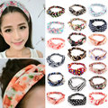 Hot New Fashion Women Girl Elastic Headwear Turban Floral Twisted Knotted Hairband Wrap Bandana Headband 20 Styles Z1
