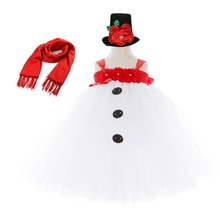 White Snowman Dress Girl Baby Christmas Outfits Winter Ankle Length Tutu Dress New Born Baby Clothes with Red Scarf Flower Hat цены