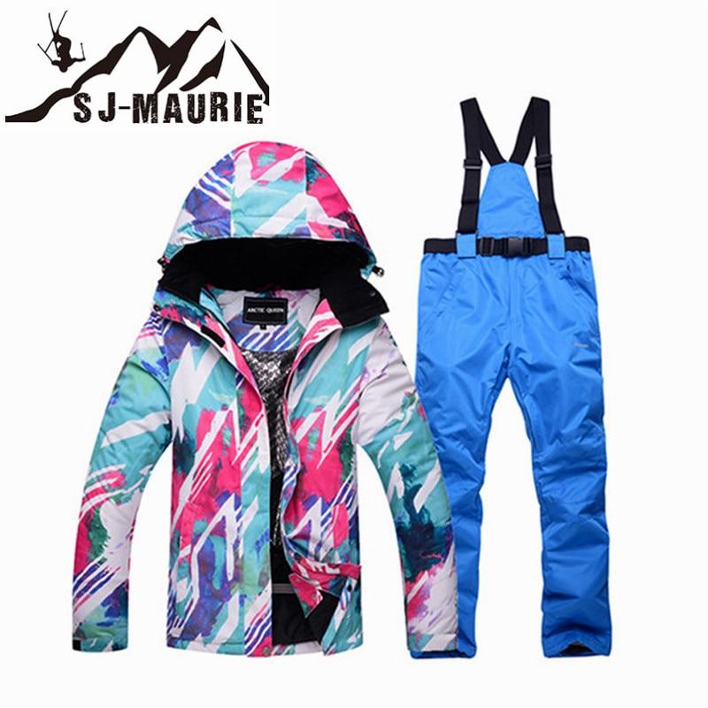 -30 Degree Warm Women Skiing Clothing Snowboarding Sets Waterproof Windproof Snow Jackets and Bib Pants Best Ski Suit S-3XL-30 Degree Warm Women Skiing Clothing Snowboarding Sets Waterproof Windproof Snow Jackets and Bib Pants Best Ski Suit S-3XL