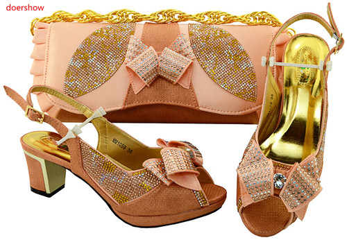 doershow 2018 Ladies Shoes and Bag Set African Sets Italian Shoes with Matching Bags peach Women Shoes and Bag for party!SVP1-24 doershow latest african shoes and bag set for party italian fashion women sandal with matching bags set with rhinestones hjn1 12
