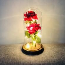LED Beauty Rose Battery Powered Red Flower String Light Lamp Bottle Desk Romantic Night D25