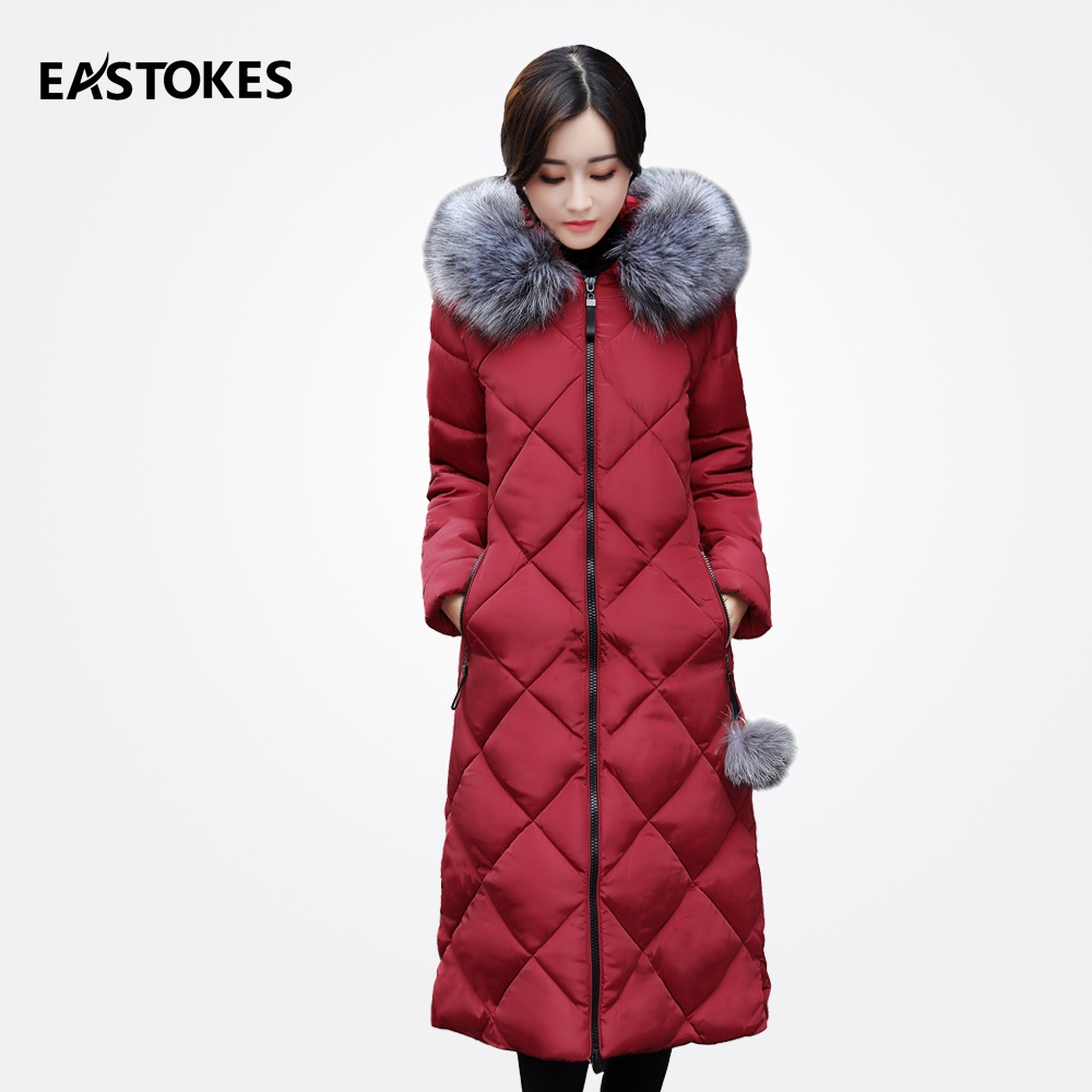 2017 Women Winter Parkas With Fur Collar Ladies Hooded Jackets Fur Ball Detail Winter Women Jackets And Coats Female Outerwear