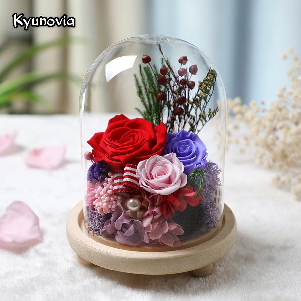 Kyunovia Beautiful Preserved Rose Flower In A Glass Immortal Red