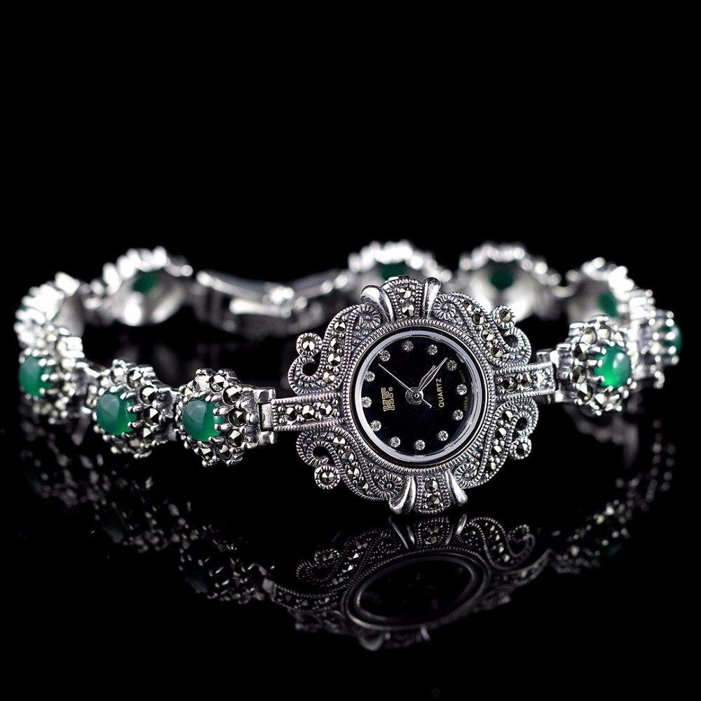 Фото Limited Edition Classic S925 Silver Pure Silver Watch Green Jade Bracelet Watch Thailand Process Rhinestone Bangle Dresswatch
