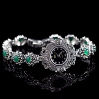 Limited Edition Classic S925 Silver Pure Silver Watch Green Jade Bracelet Watch Thailand Process Rhinestone Bangle