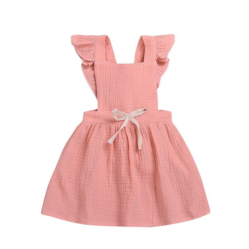 Verão Bebê Recém-nascido Crianças Menina Sem Mangas Voando Mangas Cor Sólida Plissado vestido de Festa Vestido de Roupas Casuais de Verão D20