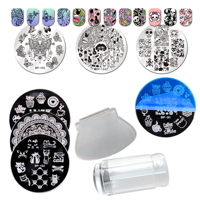 BORN PRETTY 10Pcs Nail Plates with Clear Jelly Silicone Nail Art Stamper and Scraper Stamping Template Nail Stamp Plate Tool
