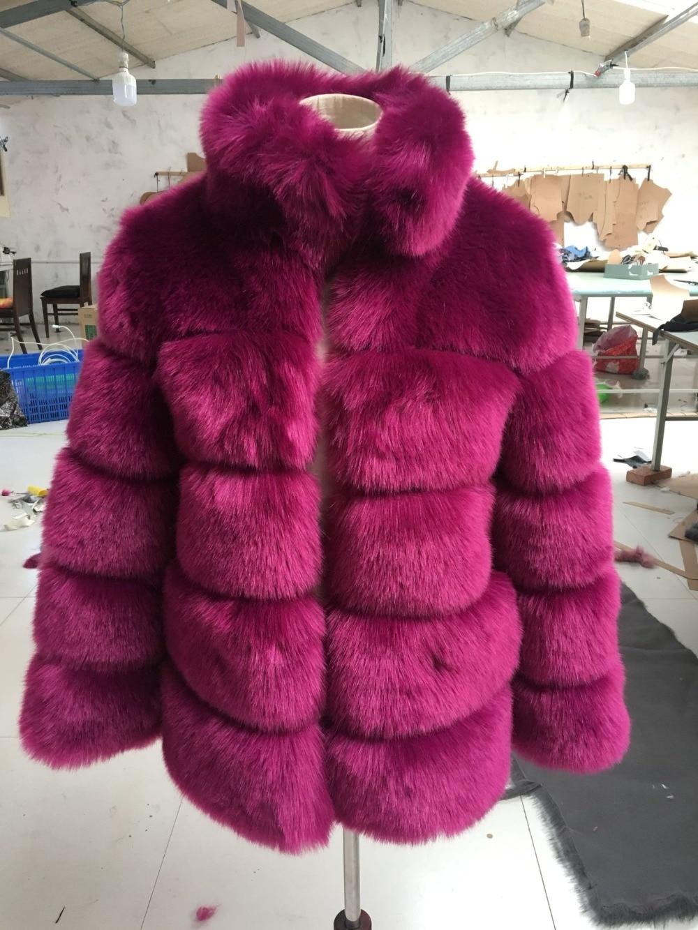 Manteau Lisa gris ardoisé Femmes Manches D'hiver Fourrure Faux Renard Fausse Outwear noir Luxe Colly Bleu camel fuchsia En Longues Mince De À Veste Col marron Axxrtwq