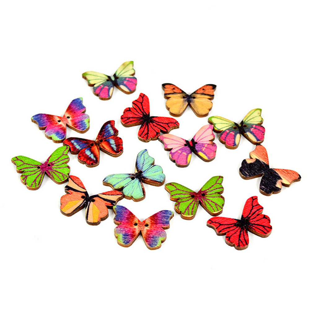 Painted wooden shapes for crafts - 50pcs Mixed Bulk Butterfly Shape Painted Buttons Phantom Wooden Sewing Buttons Colorful 2 Holes Wood Craft