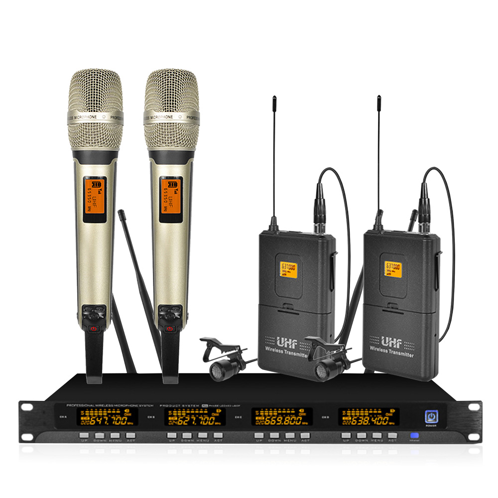 Wireless microphone system four handheld lavalier wireless microphone karaoke home microphone in Microphones from Consumer Electronics