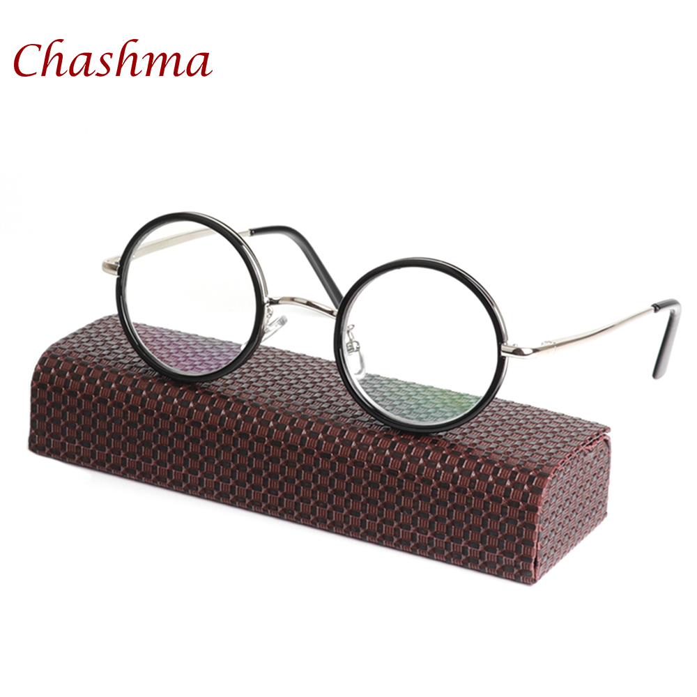 Chashma Brand Design Vintage Round Reader Gaya Retro Lelaki Wanita Metal Reading Glasses Black Anti Reflective Eyewear