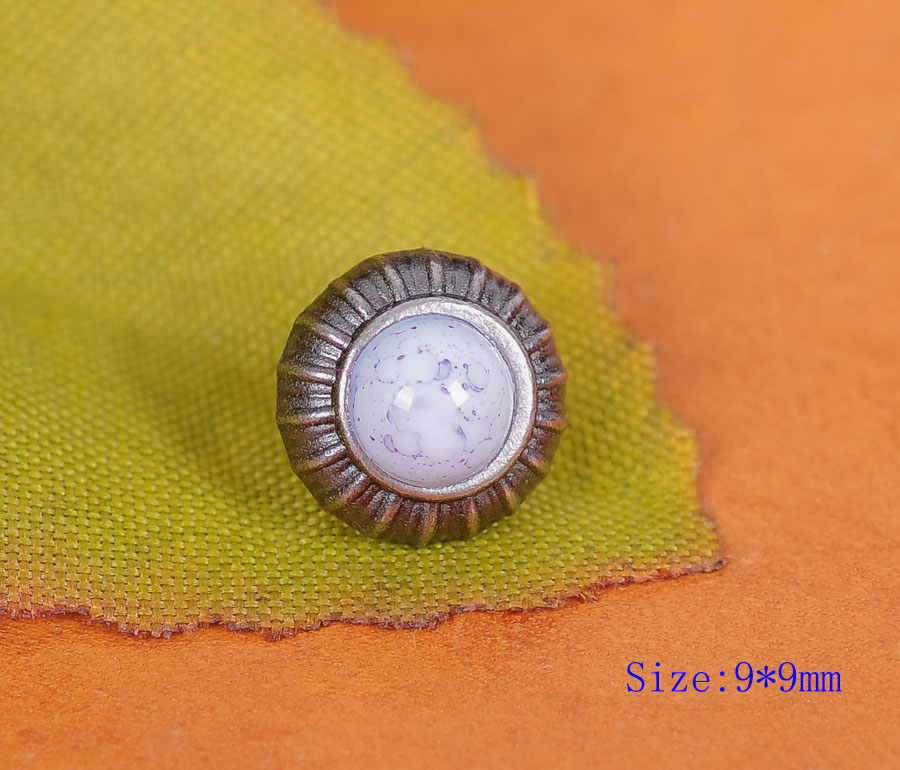 20PC White Turquoise Flower Studs Rivets Conchos for Leathercraft Bag Shoes Belt