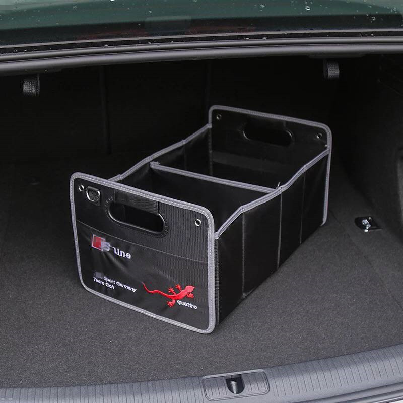 1X For Audi A1 A3 A4 C5 C6 C7 B5 B6 B7 B8 A5 A6 A7 A8 Q3 Q5 Q7 S3 S4 S5 S6 S7 Interior Car Accessories Trunk Box Stowing Tidying yawlooc 3d metal black s3 s4 s5 s6 s8 sline car tail sticker emblem badge logo car styling for audi q3 q5 q7 b5 b6 b8 c5 c6