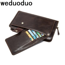 Weduoduo Purse For Men Genuine Leather Mens Wallets Long Male Wallet Card Holder Clutch Bags Soft Walets