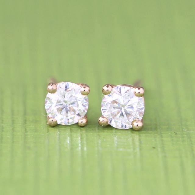 18K 750 Yellow Gold 3.5mm Lab Grown Moissanite Diamond Earrings
