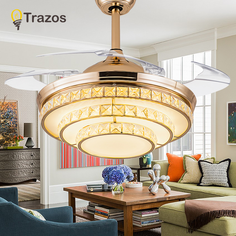 TRAZOS Modern LED Invisible Crystal Ceiling Fans With Lights Bedroom  Folding Ceiling Light Fan Remote Control Ventilador De Teto