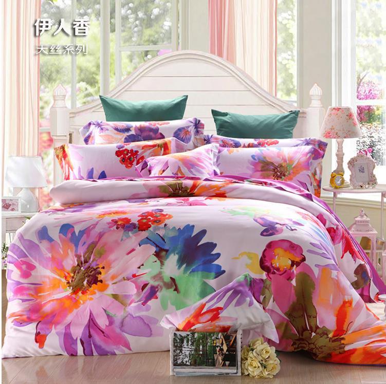 ₪Lujo Tencel satén seda impreso Queen/King conjuntos tamaño de cama ...