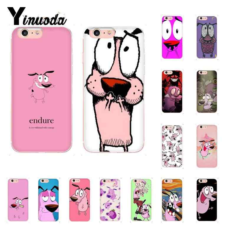 Funda de teléfono de silicona suave Yinuoda corage the cowarly dog TPU para iPhone 8 7 6S Plus X XS MAX 5 5S SE XR 10 11 pro max