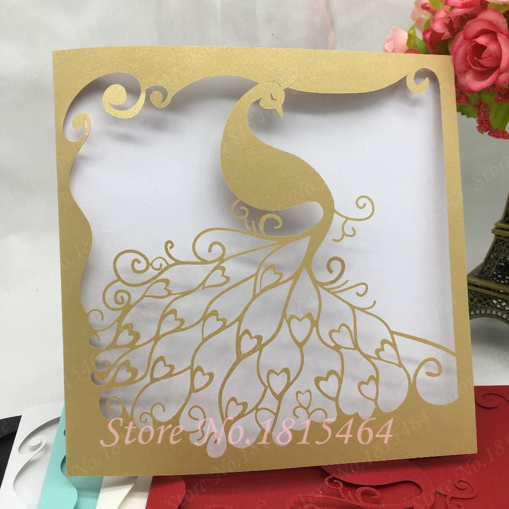 50 Stücke Neue Ankunft Hochzeitskarte Gastgeschenke Laser Cut Hohle Pfau Elegante  Einladungskarten Mit Inneren Karten Hochzeit