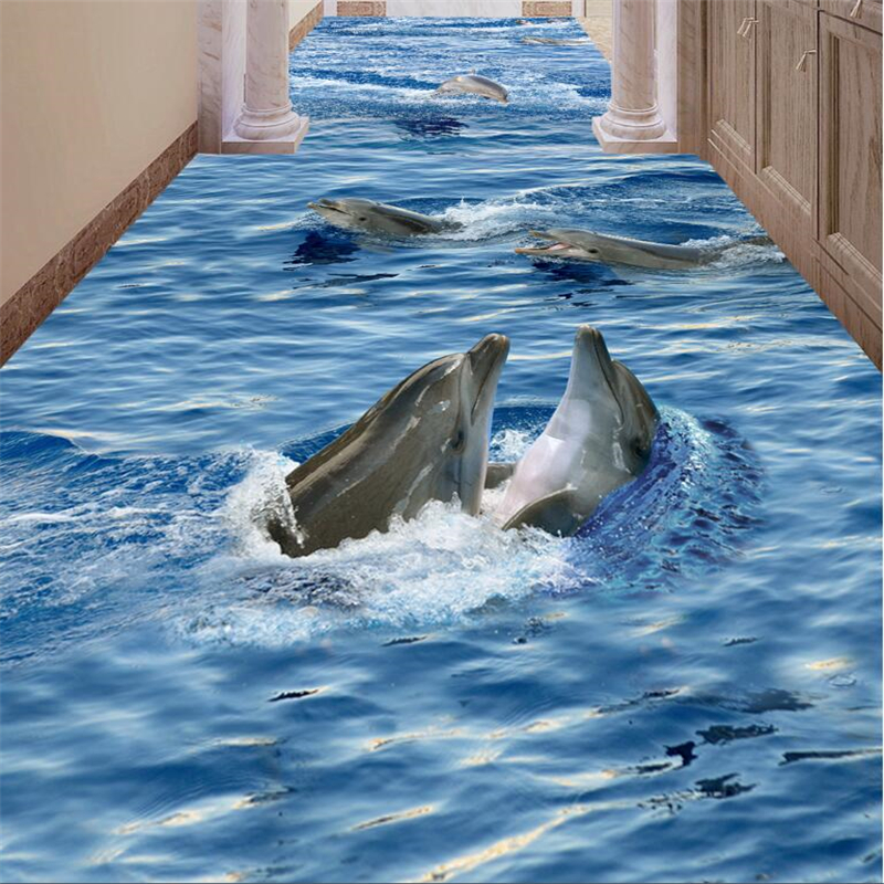 beibehang Custom Photo Wallpaper Mural Wall Sticker Clear Seawater Dolphin Bathroom Corridor Aisle 3D Floor papel de parede beibehang custom photo floor painted