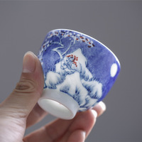 110ml Chinese master tea cup ceramic kungfu tea cups handpainted blue and white porcelain cup of tea under glazed teacups new