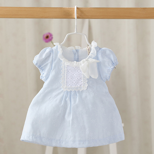 2016 Summer Baby Girls Dresses New Brand O-neck Solid Kids Girl Dresses Baby Short Sleeve Cotton Cute Toddlers Clothes