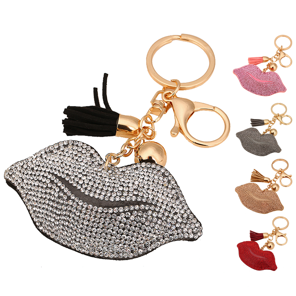 9c3207285111 Fashion Cute Tassels Leather Key chains New Clover Crystal Key Chain Car Key  Ring Lips Keychain Pendant Key Holder Bag Chain-in Key Chains from Jewelry  ...