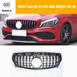 CLA45 GT styl ABS przedni zderzak z siatką Grille dla Benz W117 C117 CLA180 CLA200 CLA260 CLA45 AMG 2013-2018 (bez logo z gwiazdą)