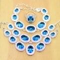 Cielo Azul Creado Topaz 925 Pendientes de Plata de La Joyería Para Las Mujeres de La Boda/Colgante/Collar/Anillos/pulseras