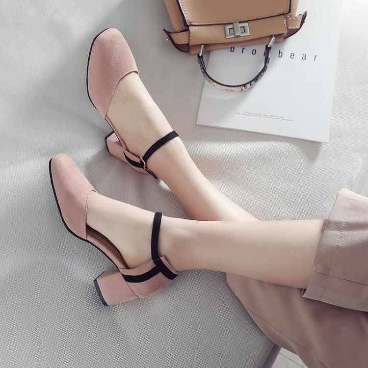 Große Größe 11 12 13 14 15 high heels sandalen frauen schuhe frau sommer damen Wildleder spitze, flach mund, eine-wort schnalle, starke ferse