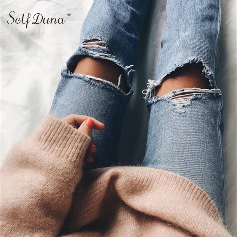 Self Duna 2019 Women Ripped   Jeans   Vintage Cool Hole Boyfriend Casual High Waist   Jeans   Pants Straight Trousers Female Denim Pants