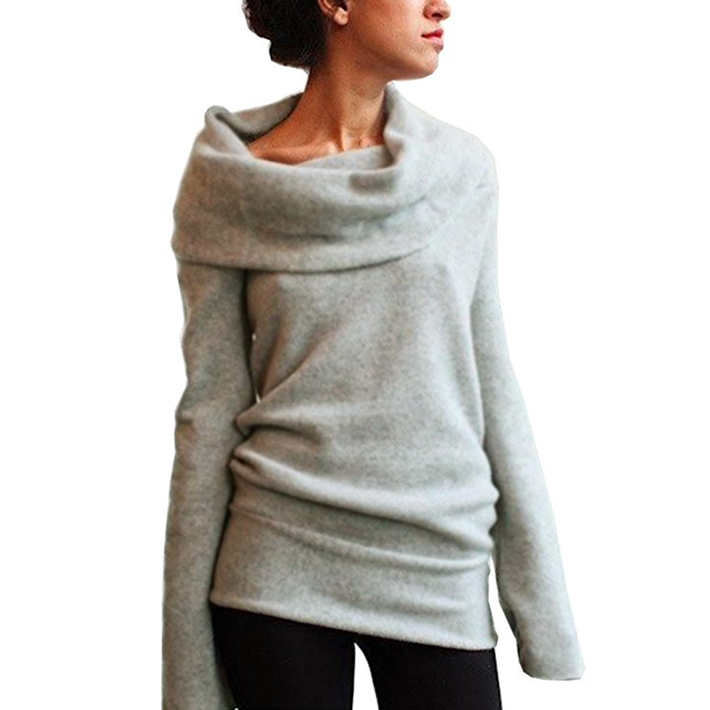 Wollen Trui Dames.2019 Mode Off Shoulder Wollen Trui Vrouwen Col Lange Mouwen Solid