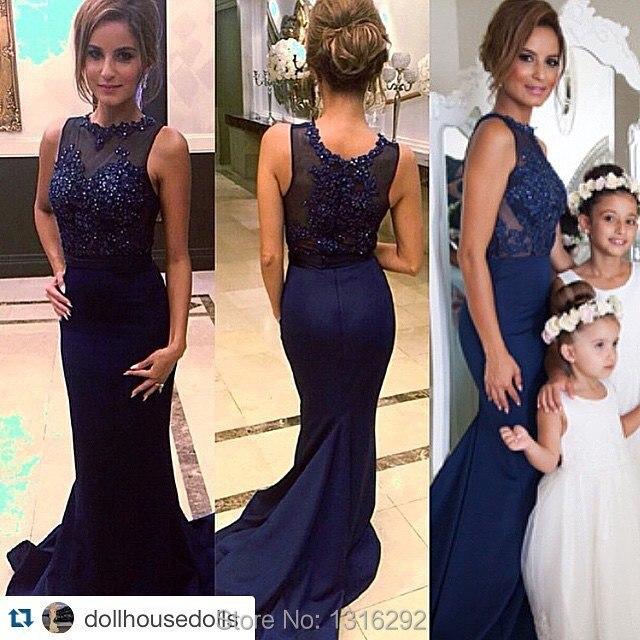Sequins Appliques Cap Sleeves Dark Navy Blue Prom Dresses 2015 Mermaid  Style Evening Gowns Vestidos De Festa Longo 04af67094942