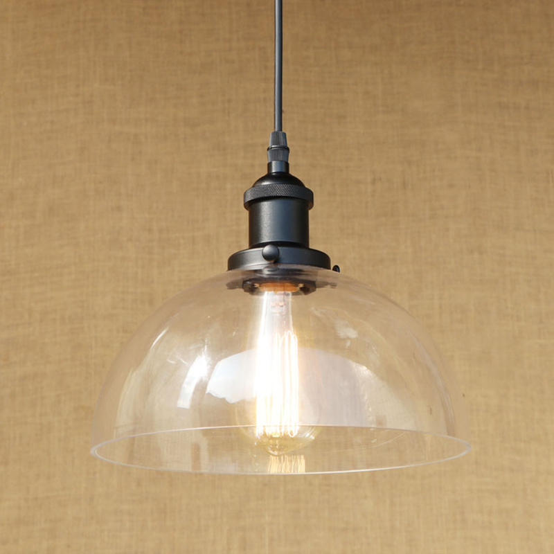 Modern Semi-circular glass shade pendant lamp LED Edison bulb Pendant Light Fixture For Kitchen Lights/dining room/bar E27 220V modern 3 6 lights crystal glass clear wineglass wine glass ceiling light lamp bedroom dining room fixture gift ems ship
