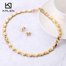 Kalen, Женские Романтические свадебные ювелирные наборы, нержавеющая сталь, золотой цвет, сердце, шарм, воротник, ожерелье, серьги, набор, аксессуары для костюма