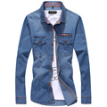 2016 High Quality Denim Shirts Men Casual Long Sleeve Fashion Plaid Collar UK Flag Mens Jean Shirt Man Plus Size 3XL 4XL 5XL 5z