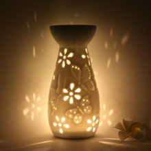 White Porcelain Aroma Furnace Aromatherapy Wax Lamp Japanese Style Ceramic Translucidus Essential