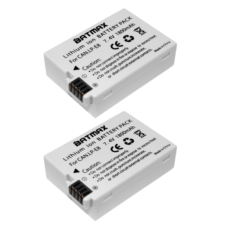 Prix pour Batmax 2 Pcs LP-E8 LP E8 LPE8 Appareil Photo Batterie pour Canon EOS 550D 600D 650D 700D baiser X4 X5 X6i X7i Rebel T2i T3i T4i T5i Batteries