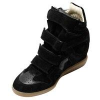 Из натуральной кожи, увеличивающие рост повседневная женская обувь Скрытая кроссовки на танкетке крюк петля кроссовки с высоким берцем Рос