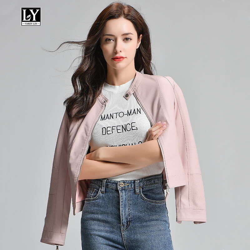 Ly Varey Lin Pu Motorcycle Faux Soft   Leather   Jacket Women Coat Slim Biker Female Black Pink   Leather   Short Jacket Outerwear