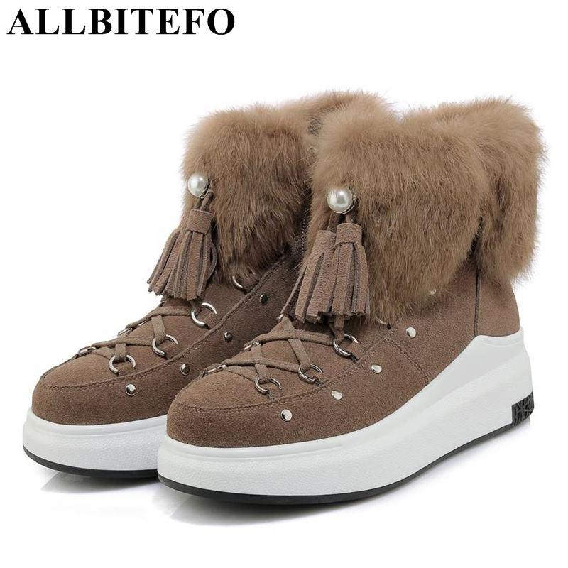 купить ALLBITEFO genuine leather wedges heel platform winter plush warm women boots brand high heels ankle boots snow girls shoes онлайн