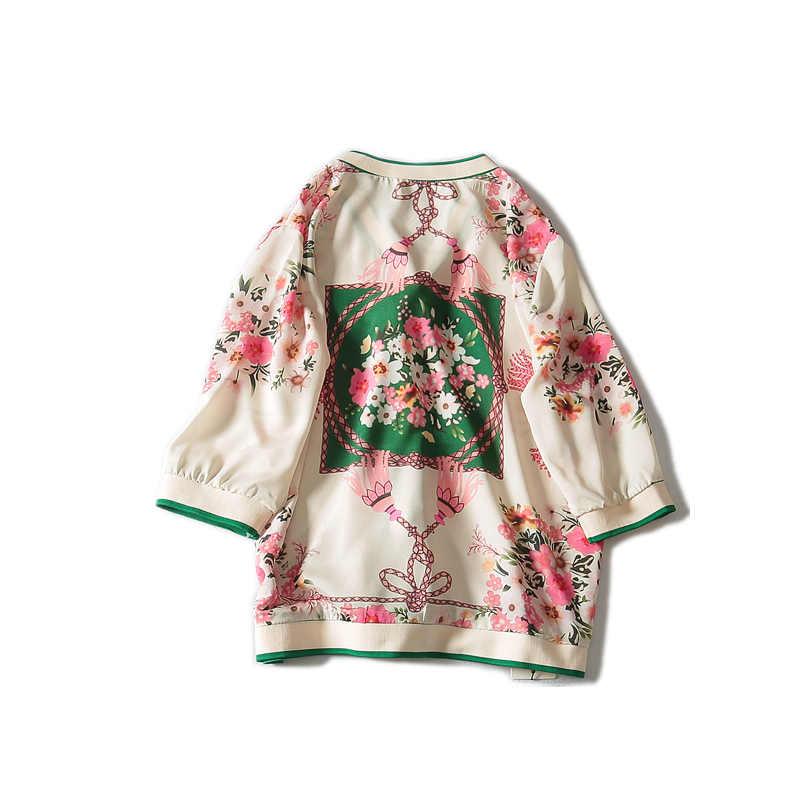 Vadim Plus rozmiar 2019 nowa letnia Casual szyfonowa trzy czwarte rękawem aplikacje, dekolt w serek, kobiety bluzki i koszule L-3x