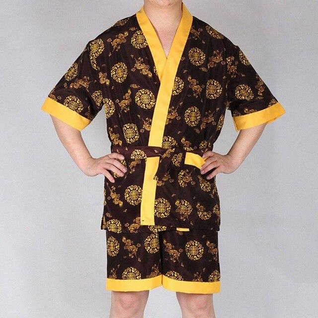 Новое поступление китайский дракон вышивка пижамы установить летом мужчины халаты комплект искусственного шелка домашней одежды человек пижамы