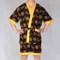 New Arrival Chinese Dragon Embroidery Sleepwear Set Summer Men Robes Sets Faux Silk Home Wear Man Bath Gown Pajamas